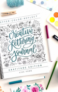 Creative lettering journal with handwriting tips and journal prompts